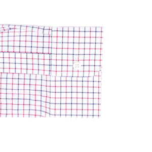 Red, Navy and White Grid Check Long Sleeve Shirt with Magnetic Closures