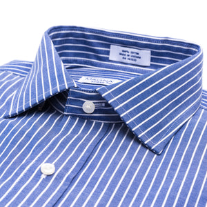 Navy and White Pinstripe Long Sleeve Shirt with Magnetic Closures