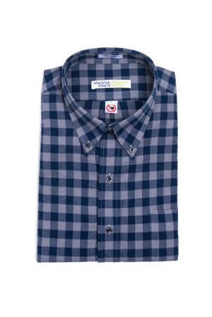 Grey and Navy Check Flannel Long Sleeve Shirt with Magnetic Closures