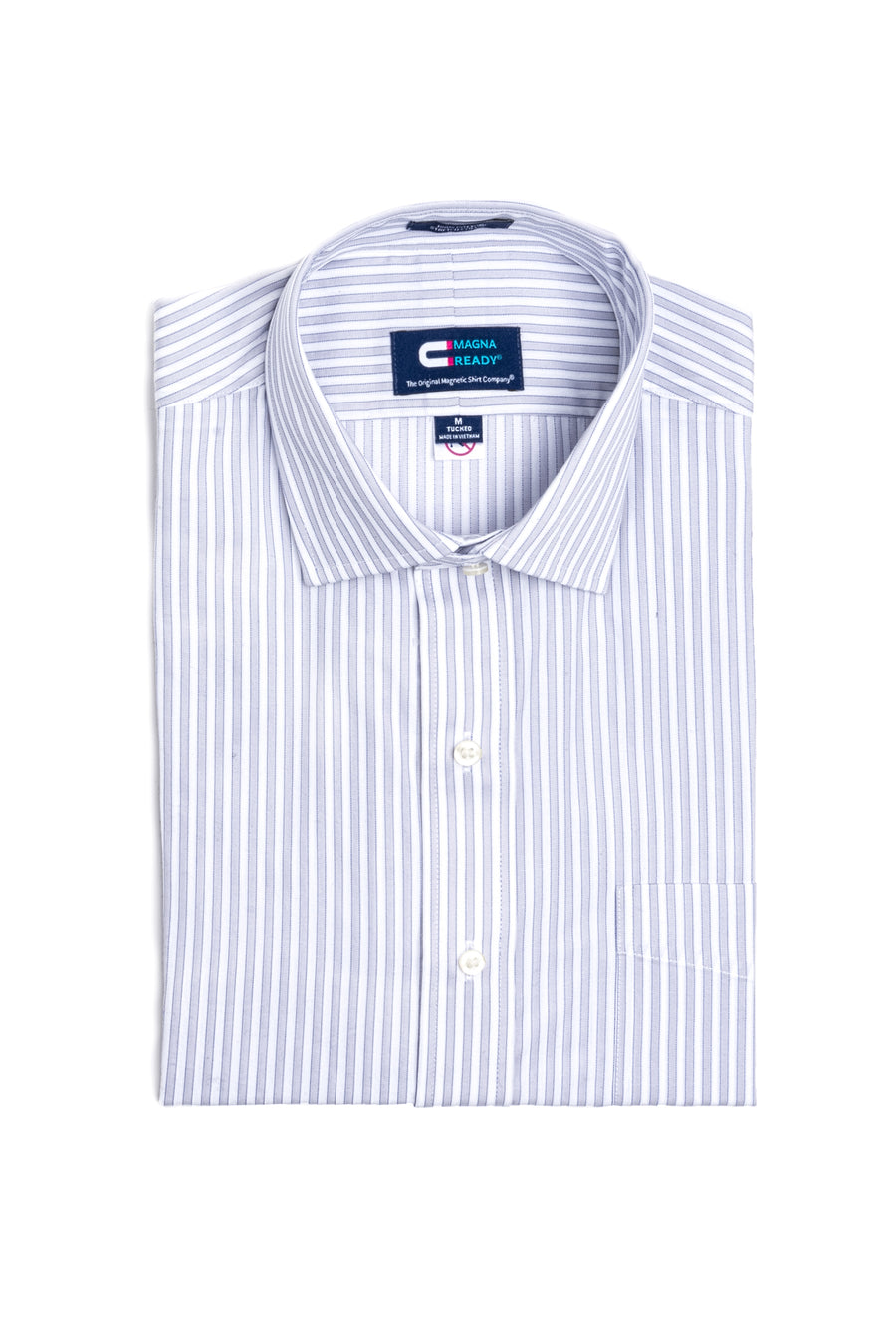 Blue and Grey Bengal Stripe Long Sleeve Dress Shirt with Magnetic Closures