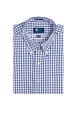 Navy and White Grid Check Long Sleeve Dress Shirt with Magnetic Closures