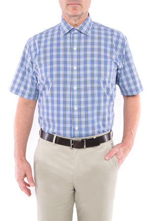 Navy and White Plaid Short Sleeve Shirt with Magnetic Closures