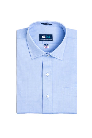 Blue Pinpoint Long Sleeve Shirt with Magnetic Closures