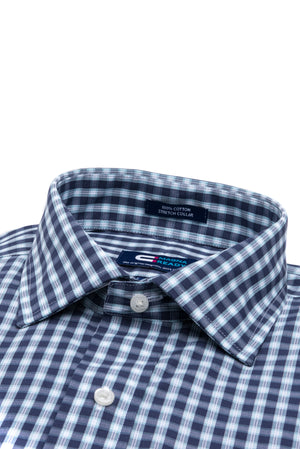 Navy, White and Teal Check Long Sleeve Shirt with Magnetic Closures