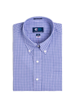 Blue and Purple Check Long Sleeve Shirt with Magnetic Closures