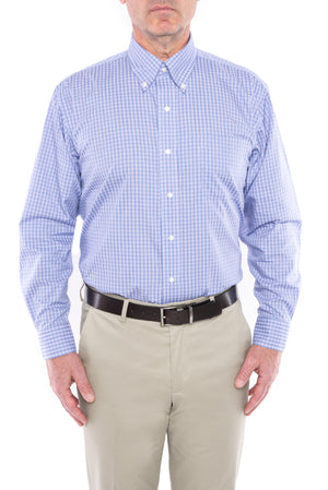 Blue and Purple Check Long Sleeve Dress Shirt with Magnetic Closures