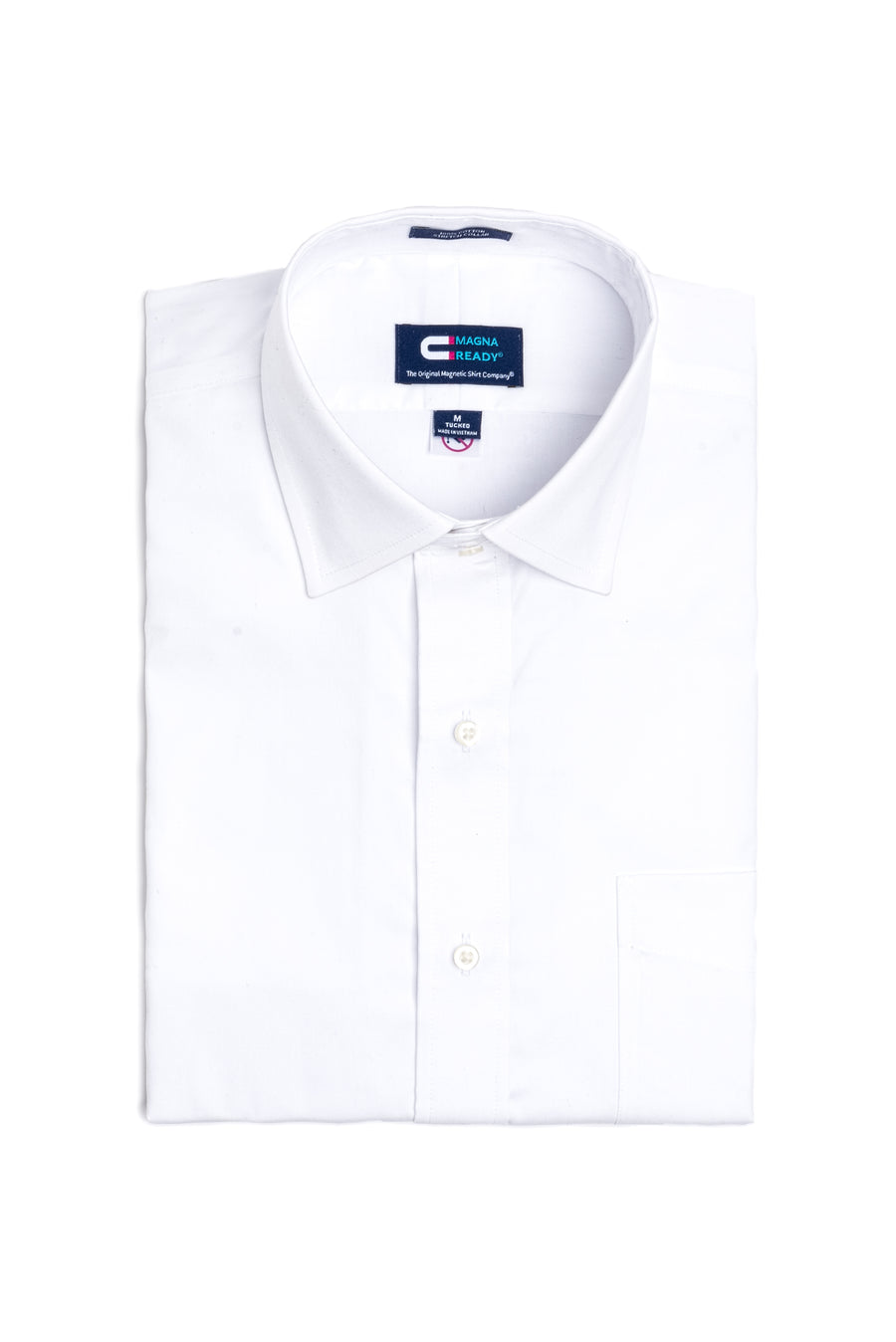 Classic White Short Sleeve Oxford Shirt with Magnetic Closures