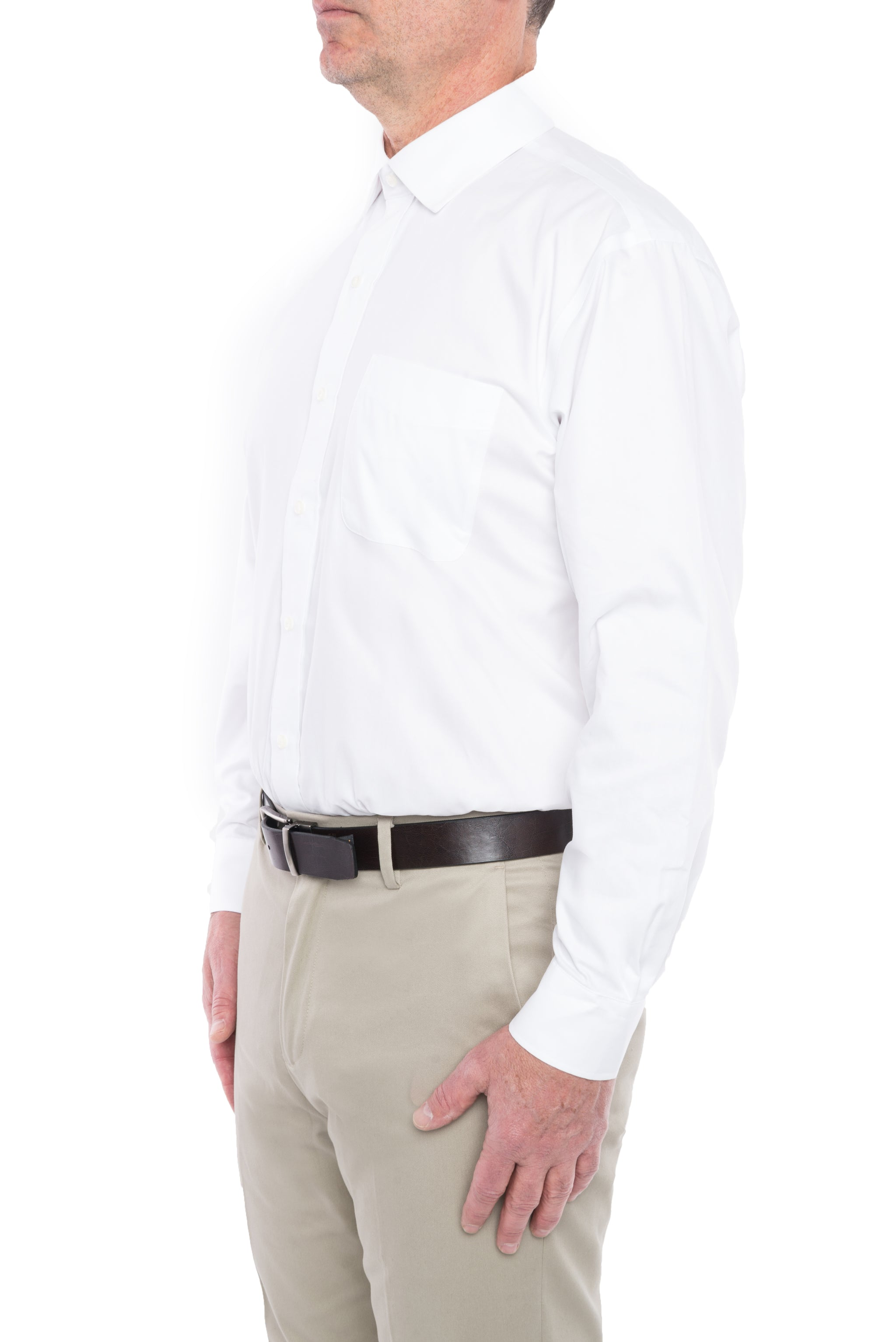 White Pinpoint Long Sleeve Shirt With Magnetic Buttons Magnaready