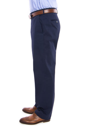 Traditional Navy Solid Twill Flat Front Chino Pant with Magnetic Fly