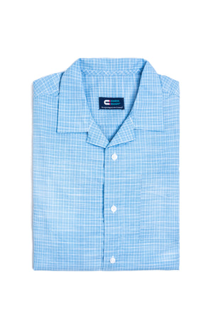 NEW! Untucked Light Blue Cotton Casual Mini Grid Camp Shirt With Magnetic Closures