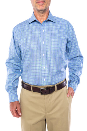 New! Blue and Green Glen Plaid Long Sleeve Shirt with Magnetic Closures