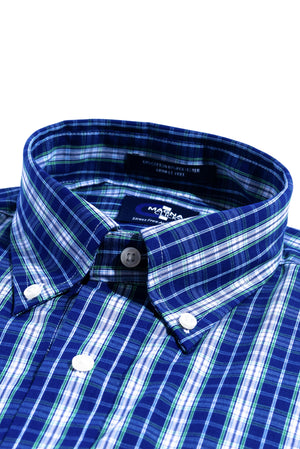 New! Navy and Green Tartan Long Sleeve Shirt with Magnetic Closures