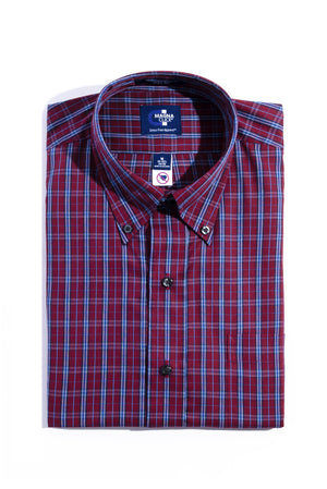 New! Burgundy And Blue Plaid Long Sleeve Dress Shirt with Magnetic Closures