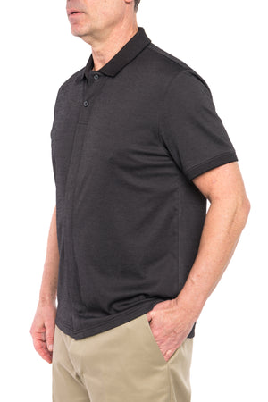 Black Birdseye Knit Short Sleeve Polo with Magnetic Closures