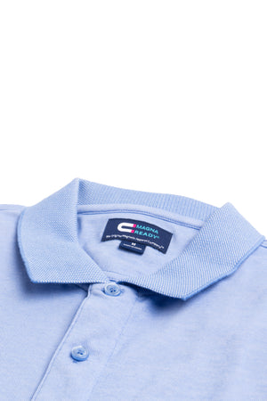 Light Blue Birdseye Knit Short Sleeve Polo with Magnetic Closures