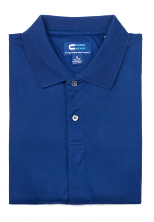 New !! Deep Navy Birdseye Knit Short Sleeve Polo with Magnetic Closures