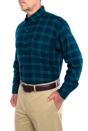 New!! MagnaClick Navy And Green Button Down Collar Long Sleeve Flannel Wih Magnetic Closures
