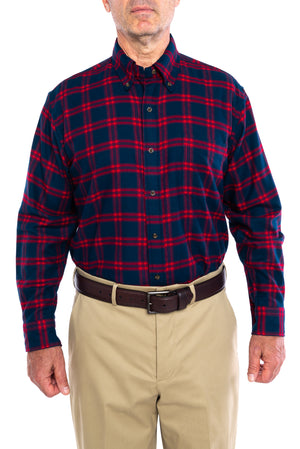 New!! MagnaClick Button Down Red And Navy Long Sleeve Flannel With Magnetic Closures