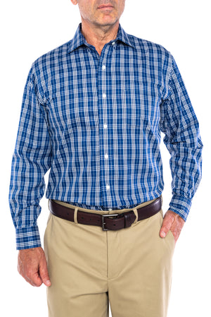 Classic Navy Plaid Long Sleeve Twill Shirt With Magnetic Closures