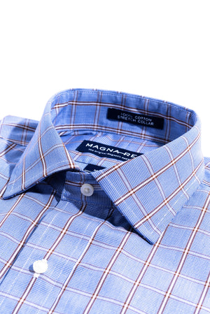 Blue And Brown Glen Plaid Long Sleeve Dress Shirt with Magnetic Closures