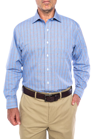 New!! Blue And Brown Glen Plaid Long Sleeve Shirt with Magnetic Closures