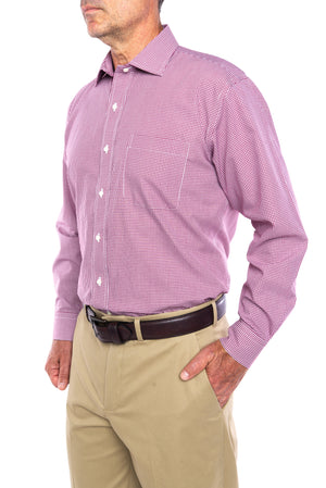 New!! Burgundy And White Gingham Check Poplin Weave Long Sleeve Shirt With Magnetic Closures