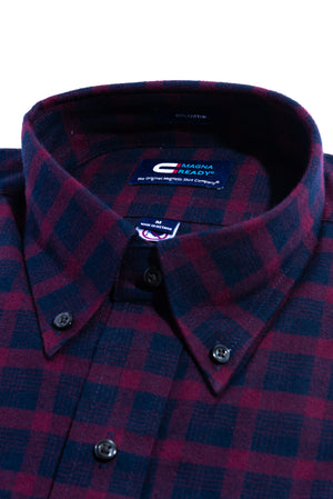 Burgundy Plaid Flannel Long Sleeve Shirt with Magnetic Closures
