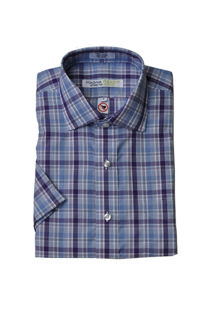 Remington Lavender and Blue Plaid Short Sleeve with Magnetic Closure