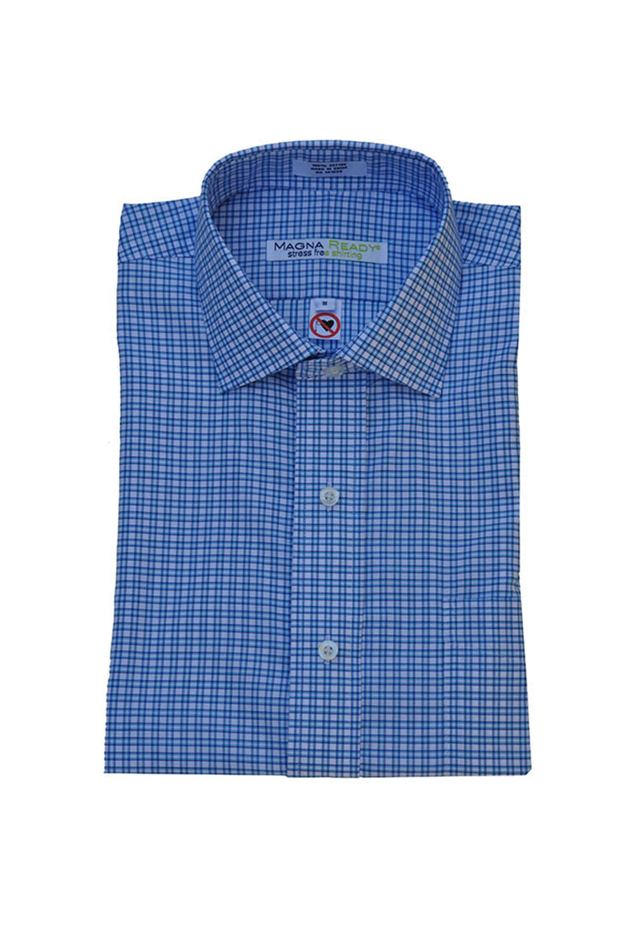 White and Carolina Blue Classic Long Sleeve Shirt with Magnetic Closures