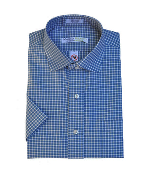 Seabrook Blue, Yellow And White Check Short Sleeve Shirt with Magnetic Closures