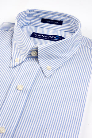 University Oxford Stripe Short Sleeve Shirt with Magnetic Closures