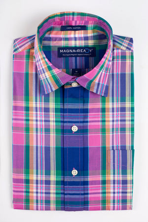 NEW!! Solid Madras Inspired Pink Plaid Short Sleeve Shirt with Magnetic Closures