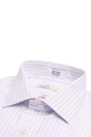 White and Blue Windowpane Long Sleeve Dress Shirt with Magnetic Closures