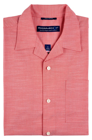 "Solid Salmon Slub Cotton ""Untucked"" Short Sleeve Shirt with Magnetic Closures"