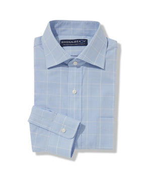 Med Blue Combo Glen Plaid Twill Long Sleeve 'Bryant' Shirt with Magnetic Closures