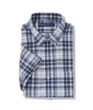 White Navy Multi Slub Plaid Short Sleeve 'Athens' Shirt with Magnetic Closures
