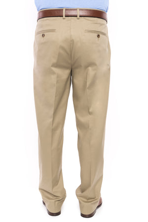 Traditional Khaki Solid Twill Flat Front Chino Pant with Magnetic Fly