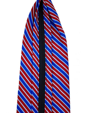 Red, Royal Blue and White Diagonal Stripe Zipper Tie