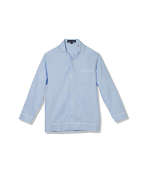 Light Blue Oxford Long Sleeve Pajama Top with Magnetic Closures