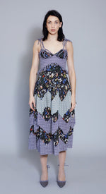 Mid-length Pleated Dress in Liberty London Heidi & Tempo fabric.