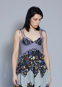 Knotted Bustier In Liberty London Tempo Tana Lawn Fabric.