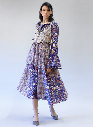 Crepe de Chine Panel Dress with Silk Chiffon, Sunray Godets.