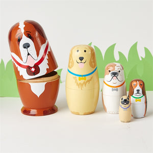 """Paw-sitively Awesome"" Dog Nesting Dolls - Set of Five"