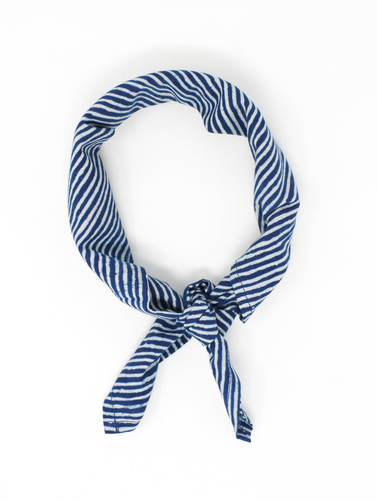 Blockprint Bandana #008 - Striped Indigo