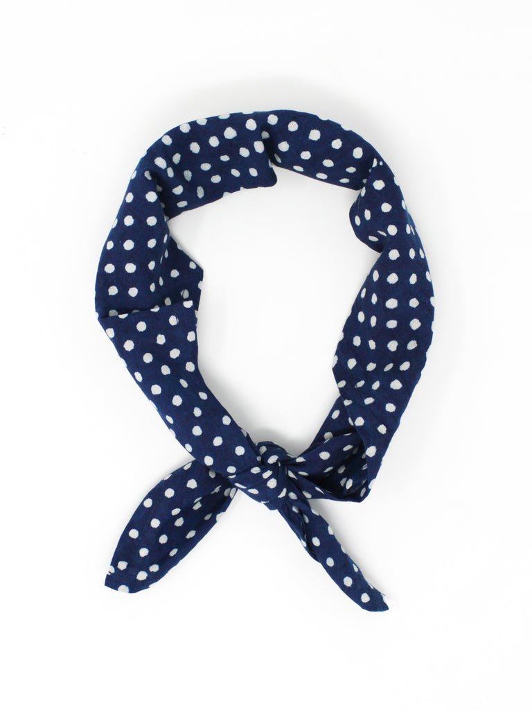 Blockprint Bandana #005 - Indigo Dots