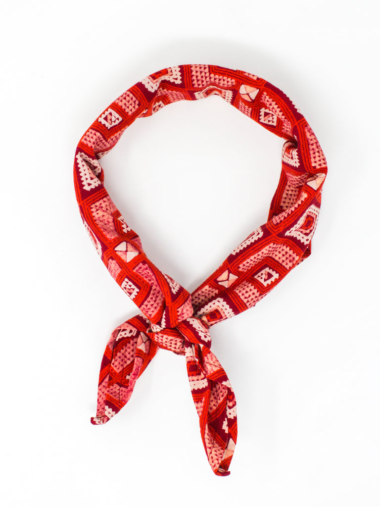 Blockprint Bandana #001 - Red Clay
