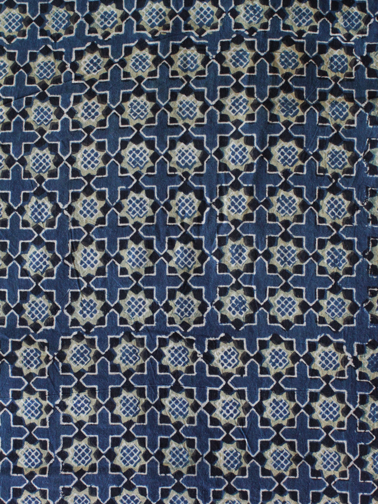 Blockprint Natural Dye Fabric #001 - Indigo Lime