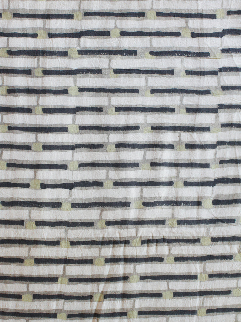 Blockprint Natural Dye Fabric #003 - Ash Stripes