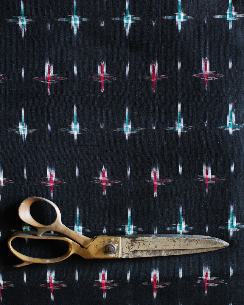 Handloom Ikat Fabric #002 - Midnight Stars