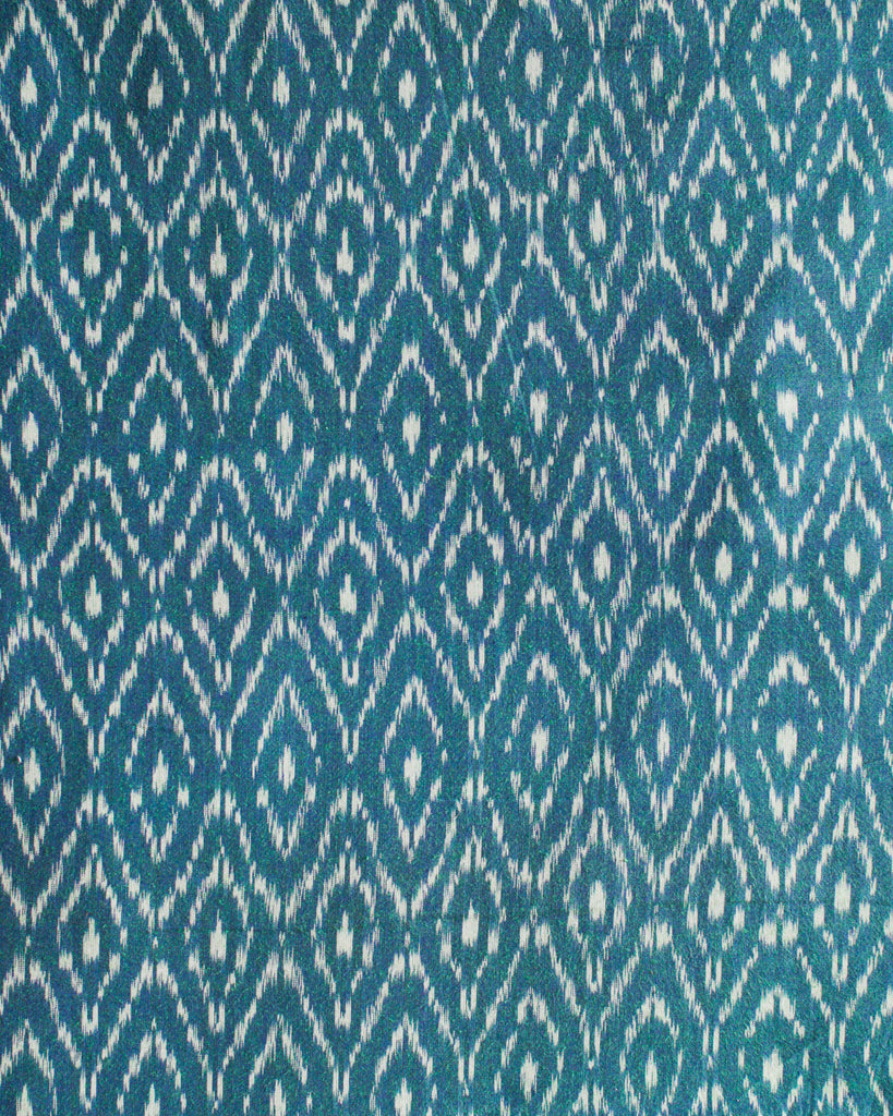 Handloom Ikat Fabric #010 - Emerald Leaf